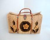 Vintage Straw Purse Souvenir Handbag 1960s Embroidered tote Shabby chic Chocolate Brown Saffron