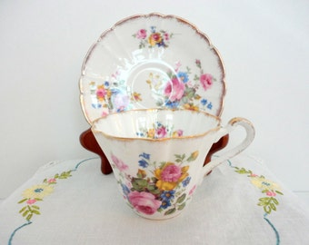 Vintage Floral Tea cup and Saucer Roses Set of 2 Mismatched China Made in England 1950s Tea Party Collectible