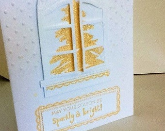 Unique Hand made cards: Elegant white and gold Christmas card - Fancy Christmas cards - Holiday cards - Christmas Tree - Handmade - wcards