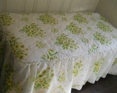 Reserved for Sahara Retro Twin Bedspread Yellow Daisies White Ruffled Quilted