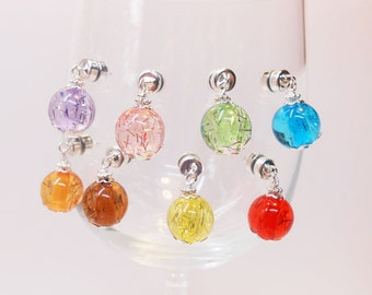 Colorful Wine Glass Charms, Magnetic Wine Glass Charms, Wine Charms, Stemless Wine Charms, Glassware Charms,Gift Basket Items, WC116Bs/g
