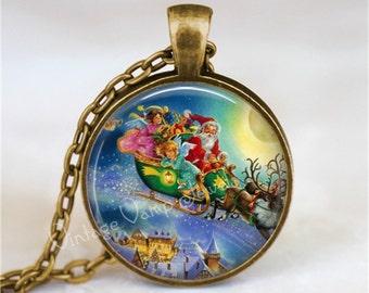 Christmas Necklace, Santa Claus Necklace, Santa Claus Jewelry, Vintage Christmas Necklace, Christmas Jewelry, Santa's Sleigh Necklace