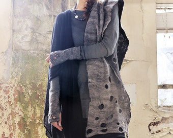 Black & Grey Felted Scarf Made in Ireland from Superfine Merino and local luxury wool.