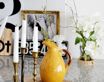 Vintage glazed ceramic vase, jug ocher brown