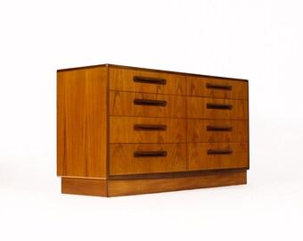 Danish Modern / Mid Century Low Chest of Drawers Teak Dresser / Credenza — Fresco line by Kofod Larsen for G-Plan (8 Drawer)
