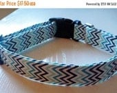 "Sale 50% Off Blue Chevron Dog Collar - Shades of Blue & White-""Mikey""NO Extra Charge for colored buckles"