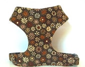 """Sale 50% Off Brown Daisy Floral Soft Comfort Dog Harness """"Autumn Flowers"""" - Soft on Your Dogs Skin"""