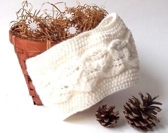 SALE - 50%OFF. Knit Headband. Knit Head Wrap. Knitted Head Warmer. Natural White Headband.