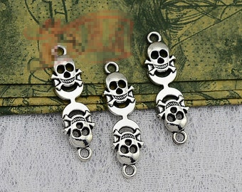 20pcs 10mm x 35mm Skull Connector Charms Antique Silver Tone - SC2105