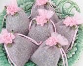 Lavender Sachet SIX Pack lavendar sachets with ribbon Flower freshly made for you Wedding Bridal Shower favors Pink Green