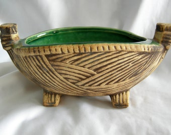 McCOY Footed Planter | Green with Brown Faux Woven Motif | McCOY USA | Vintage