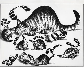 "Vintage Kliban Cat Print Funny Cat Art  Black and White Cat Cartoon Cat Wall Art 11"" x 8""  Cat Lover Gifts"