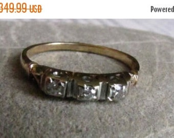 DEADsy LAST GASP SALE Art Deco Three Stone Diamond Wedding Band, Antique Diamond Engagement Ring, Art Deco to Art Nouveau, 1930s to 1940s