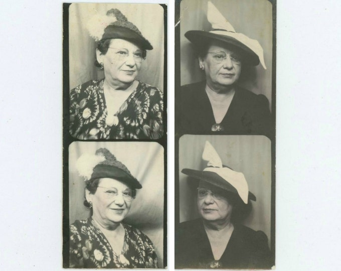 Four Vintage Arcade/Photo Booths, 1930s: Woman Shows Off Her Hats (511433)