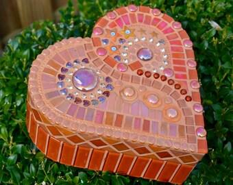 Orange glass mosaic heart shaped box