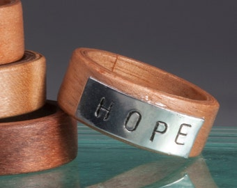 Hand Stamped Wood Rings HOPE