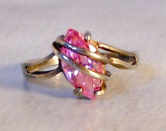 Sterling Solitaire Marquise Cut Pink Tourmaline Ring   Size 7     1.45 Ct.    Art Deco
