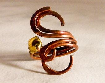 Vintage Copper Swirls Ring   Size 7