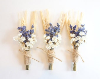 Rustic Boutonniere, Prom Boutonniere, Lavender Boutonniere, Dried Flower Boutonniere, Dried Lavender and Wheat, Lapel Pin, Summer Wedding