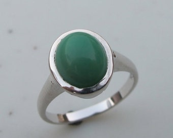SALE Sea Form Green Ring- Chrysoprase Ring- Gemstone Ring- Stone Ring- Green Stone Ring- Jewel Ring- Bezel Ring- Oval Ring- Green Ring