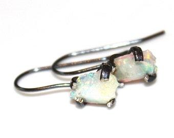 Rough Welo Opal Earring Raw Opal Organic Earring Tumbled Opal Jewelry Free Form Earring Natural Opal Ethiopian Opal Oxidized Silver Earrings
