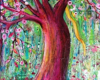 New Joy inspirational artwork,  original mixed media collage painting, garden gift with pink tree and flowers by Terri Chaney