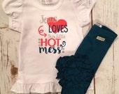 Jesus Loves the Little Hot Mess-M2M Sew Sassy jade- m2m Sew Sassy coral