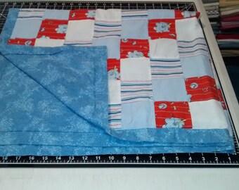 vintage refurbished baby boy quilt  42 X 40