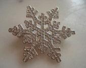 Swarovski Rhodium Plated Snowflake Pin