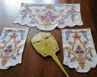 3 Dresser Scarves, Antique Cross Stitched, Doilies, Ecru Linen, Intricate Embroidery, 1940