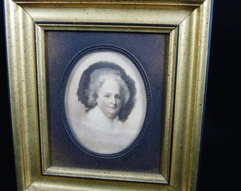 Martha Washington Picture by Gilbert Stewart, Martha Washington Unfinished Portrait from 1796, Vintage Gold Framed