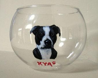 Pitbull Memorial, Pet Loss, Candle Holder, Rememberance, Custom Pet Portrait, Dog Art, Handpainted Glass, Dog Painting, Custom Bowl