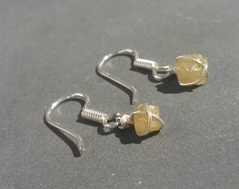 Glimmering Canary Yellow DIAMOND Crystal Earrings 925 Sterling Silver wire wrapped April Birthstone Raw Rough Mineral Jewelry gift 3 carats