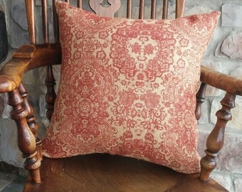 Natural & Rust Red Damask Print Burlap Pillow Cover - Various sizes