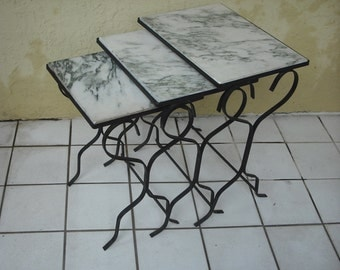 Stylish & Elegant Nesting End Tables Marble Top