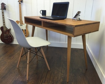 Boxer mid century modern desk with storage, quartersawn white oak with tapered wood legs.