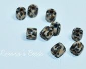 Leopard Print Polymer Clay 6mm Round Tube Beads- Set of 9