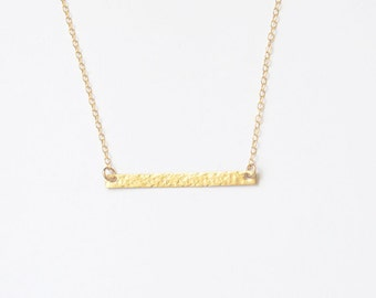 Skinny Gold Bar Textured Necklace