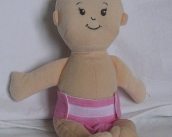 Wee Baby Stella Doll Diaper-Handmade Diaper fits Wee Baby Stella dolls-Pink Heart swirl print-Great for pretend play