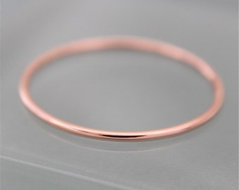 Rose Gold Ring 14k SOLID Gold Skinny Wedding Ring 1mm Thin Round Simple Stacking Band Spacer Shiny Finish Eco-friendly Recycled Gold