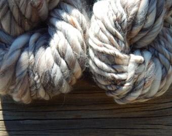 Hand spun yarn - variegated Merino wool top yarn - thick and thin, super bulky - 37 yards, 4 oz.