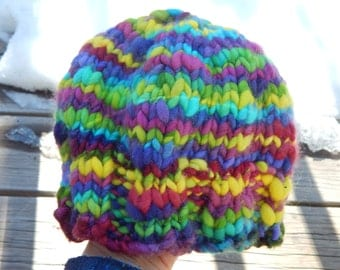 Hand knit warm winter hat - Rambouillet wool hat - rainbow of colors - young child hat