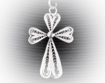 Embroidery of silver Filigree Cross pendant