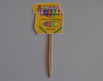 Unique Personalized Crayon Theme Cupcake Toppers Birthday or Baby Shower Party Favor Gift Tags or Any Occassion