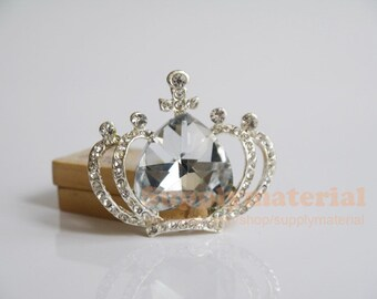 1pcs Fashion crystal Gemstone crown 3D Alloy jewelry Accessories materials supplies