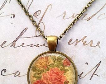 Rose Necklace, Floral, Vintage, Shabby Chic, Pendant, Steampunk, Boho T799