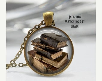 Book Necklace - Book Jewelry - Book Pendant - Old Books - Book Lover - Literary Jewelry - Literary Art - Literature Jewelry (X12)