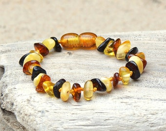 Teething Anklet - Bracelet from Baltic Amber - Safety Knotted