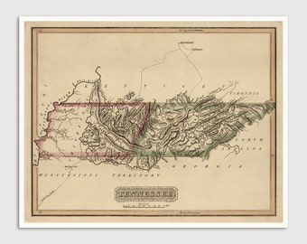 Old Tennessee Map Art Print 1817 Antique Map Archival Reproduction