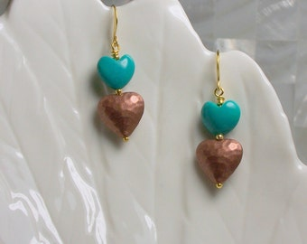 Earrings Drop Dangle Double Hearts Turquoise Gemstones Hammered Copper Gold Fashion Jewelry Romantic Jewellery Gift Idea Valentine